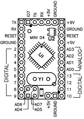 Распиновка Arduino Mini